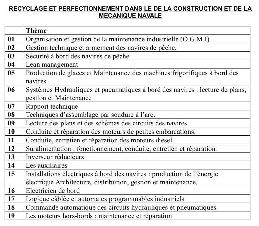 RECYCLAGE ET PERFECTIONNEMENT DANS LE DE LA CONSTRUCTION ET DE LA MECANIQUE NAVALE